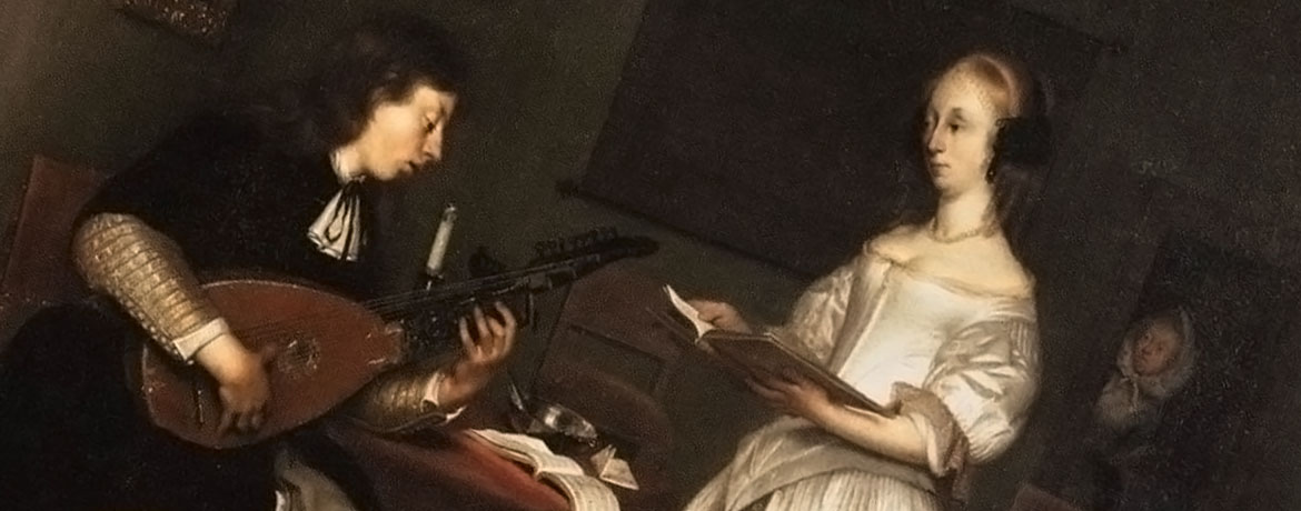 classical painting of a man playing a lute for a music teacher