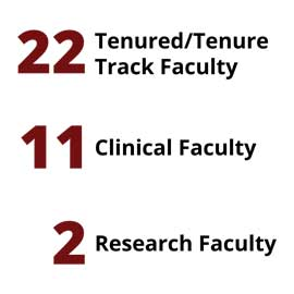 Infographic: 22 Tenured/Tenure Track Faculty, 11 Clinical Faculty, 2 Research Faculty