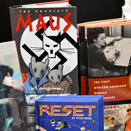 book covers including the graphic novel Maus
