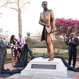 Unveiling of a statue of Richard T. Greener, the first Black professor at the University of South Carolina, in 2018.
